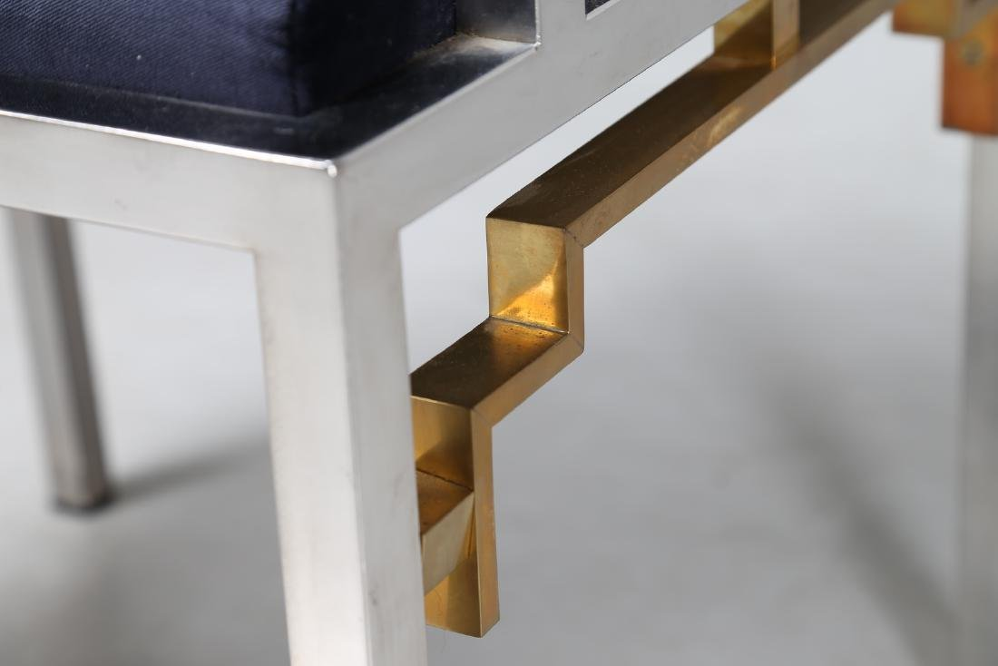 ROMEO REGA Chair in chromed metal, brass and fabric, - 6