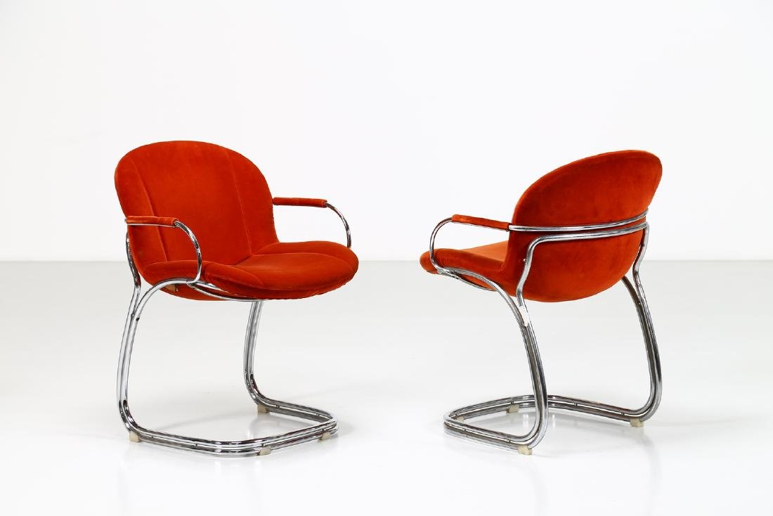 GIORGIO RINALDI Pair of chairs in chromed metal and