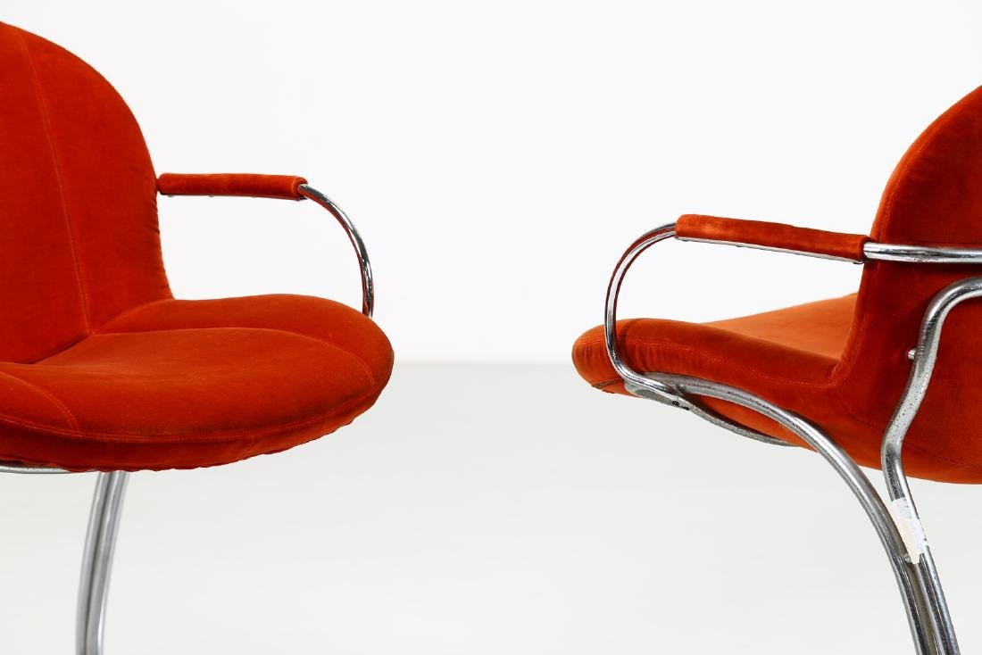GIORGIO RINALDI Pair of chairs in chromed metal and - 2