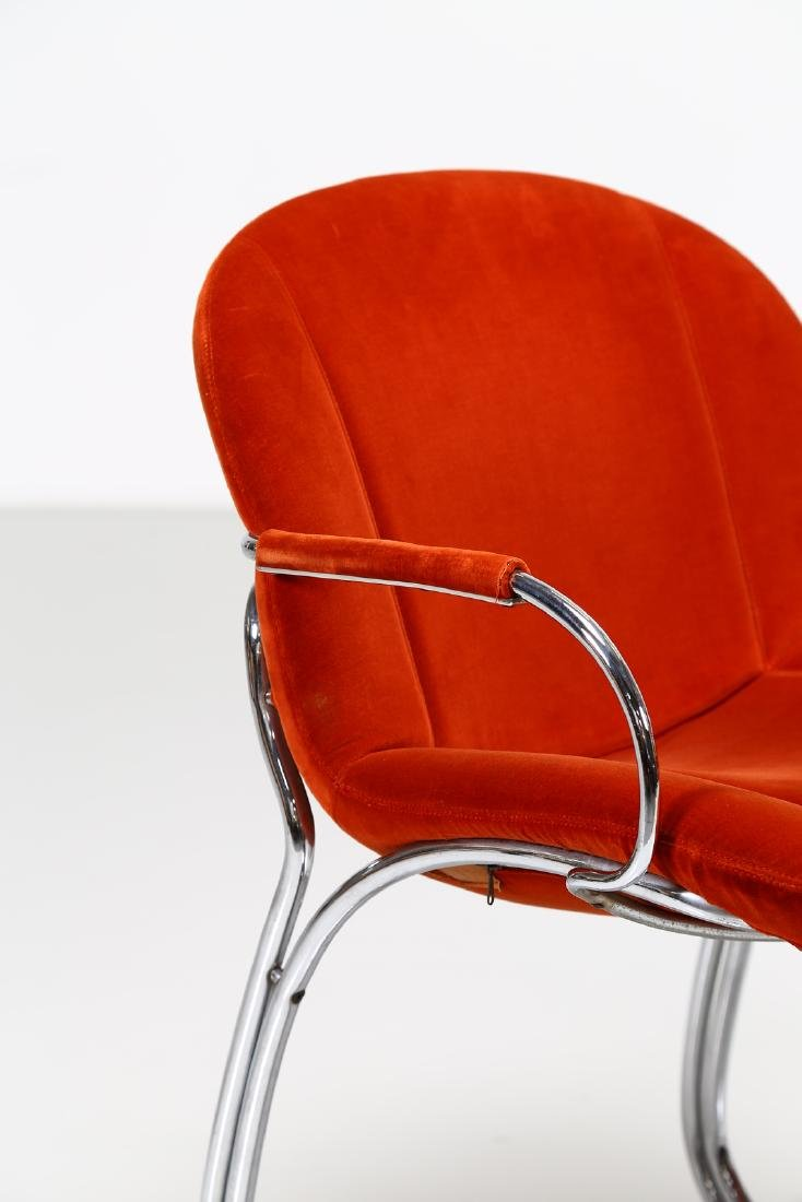 GIORGIO RINALDI Pair of chairs in chromed metal and - 3