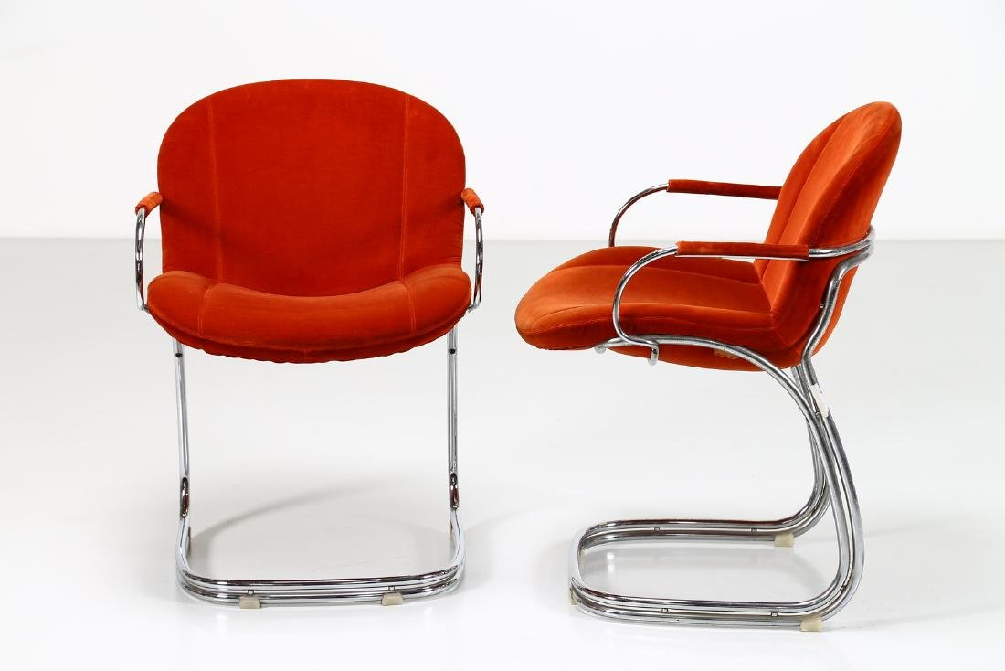 GIORGIO RINALDI Pair of chairs in chromed metal and - 5