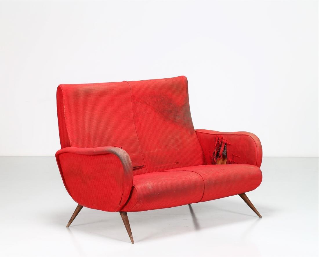 MANIFATTURA ITALIANA  Two-seater wood and fabric sofa,