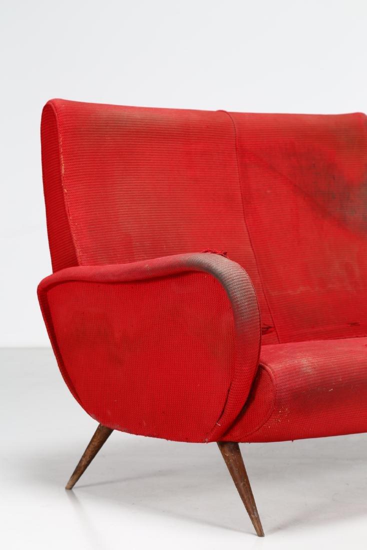 MANIFATTURA ITALIANA  Two-seater wood and fabric sofa, - 2