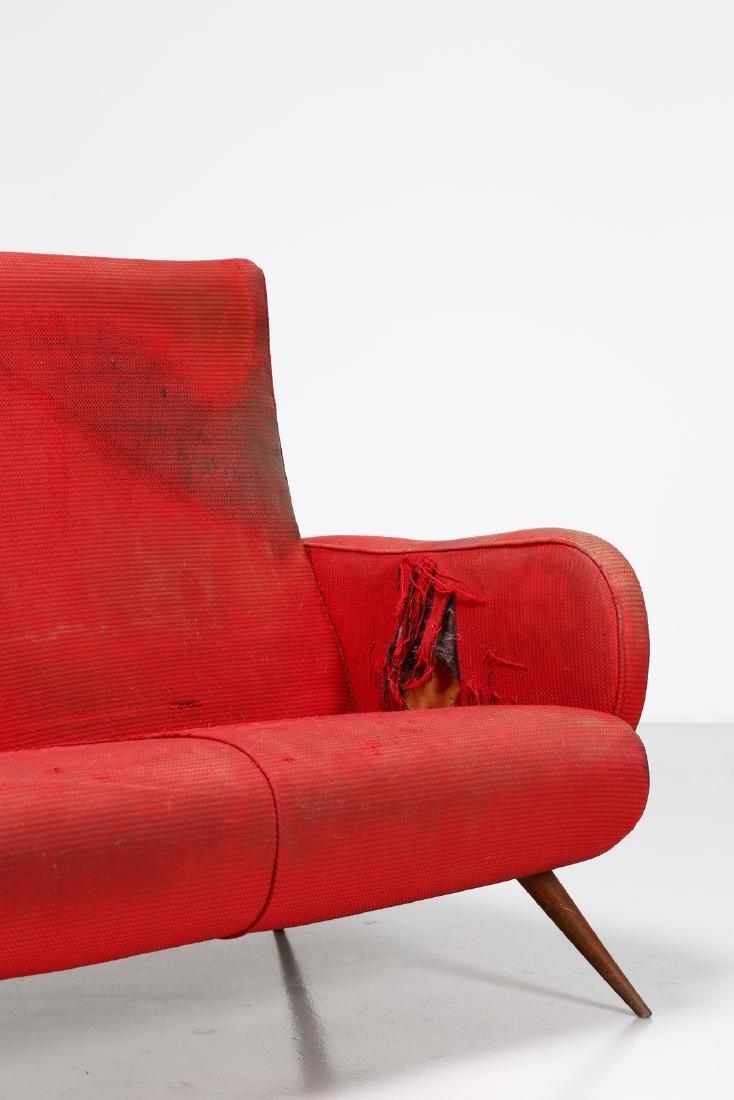 MANIFATTURA ITALIANA  Two-seater wood and fabric sofa, - 3