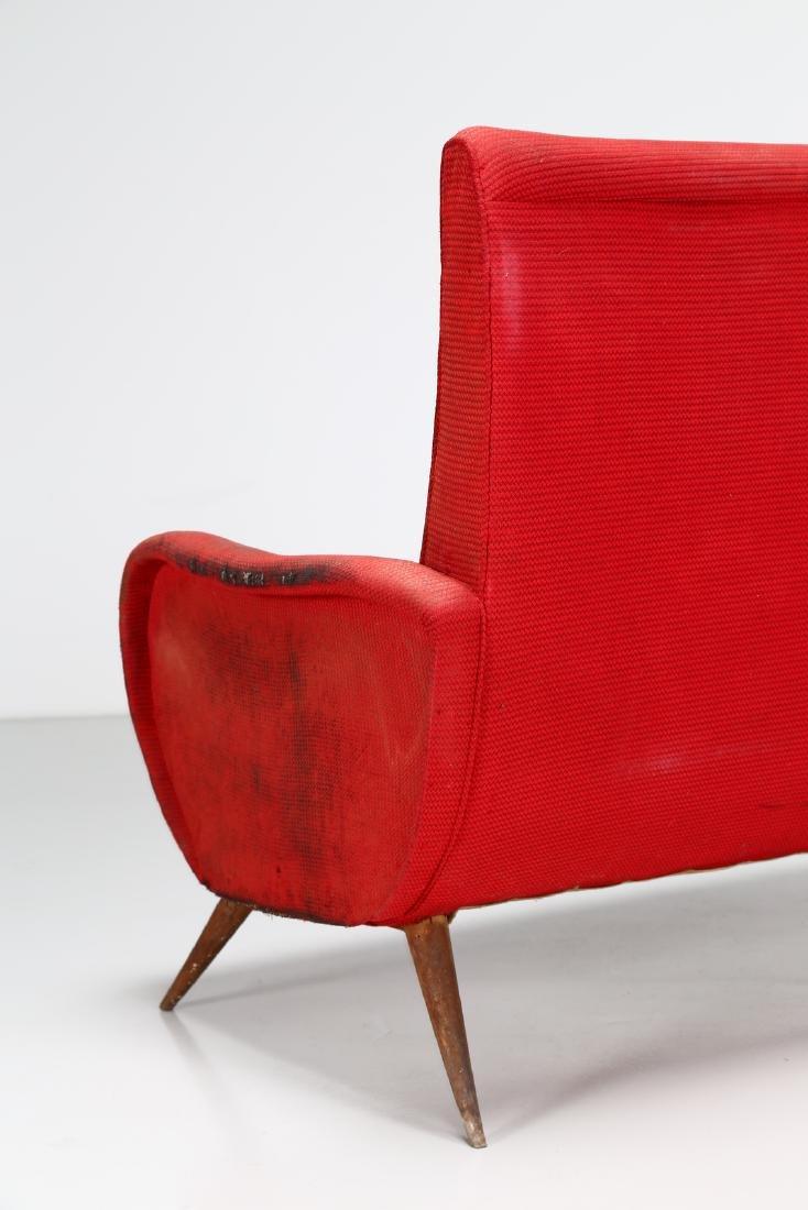 MANIFATTURA ITALIANA  Two-seater wood and fabric sofa, - 4