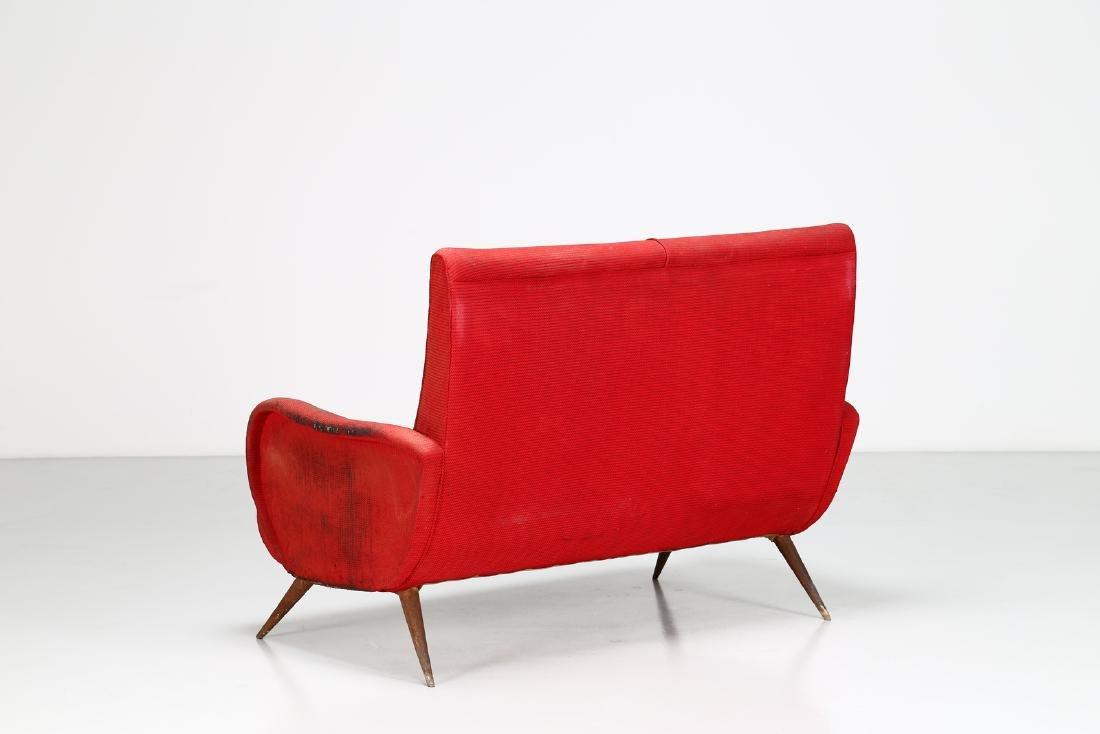 MANIFATTURA ITALIANA  Two-seater wood and fabric sofa, - 5