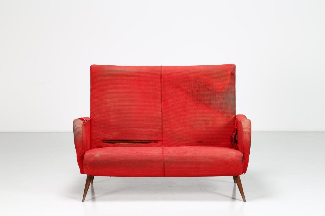 MANIFATTURA ITALIANA  Two-seater wood and fabric sofa, - 6