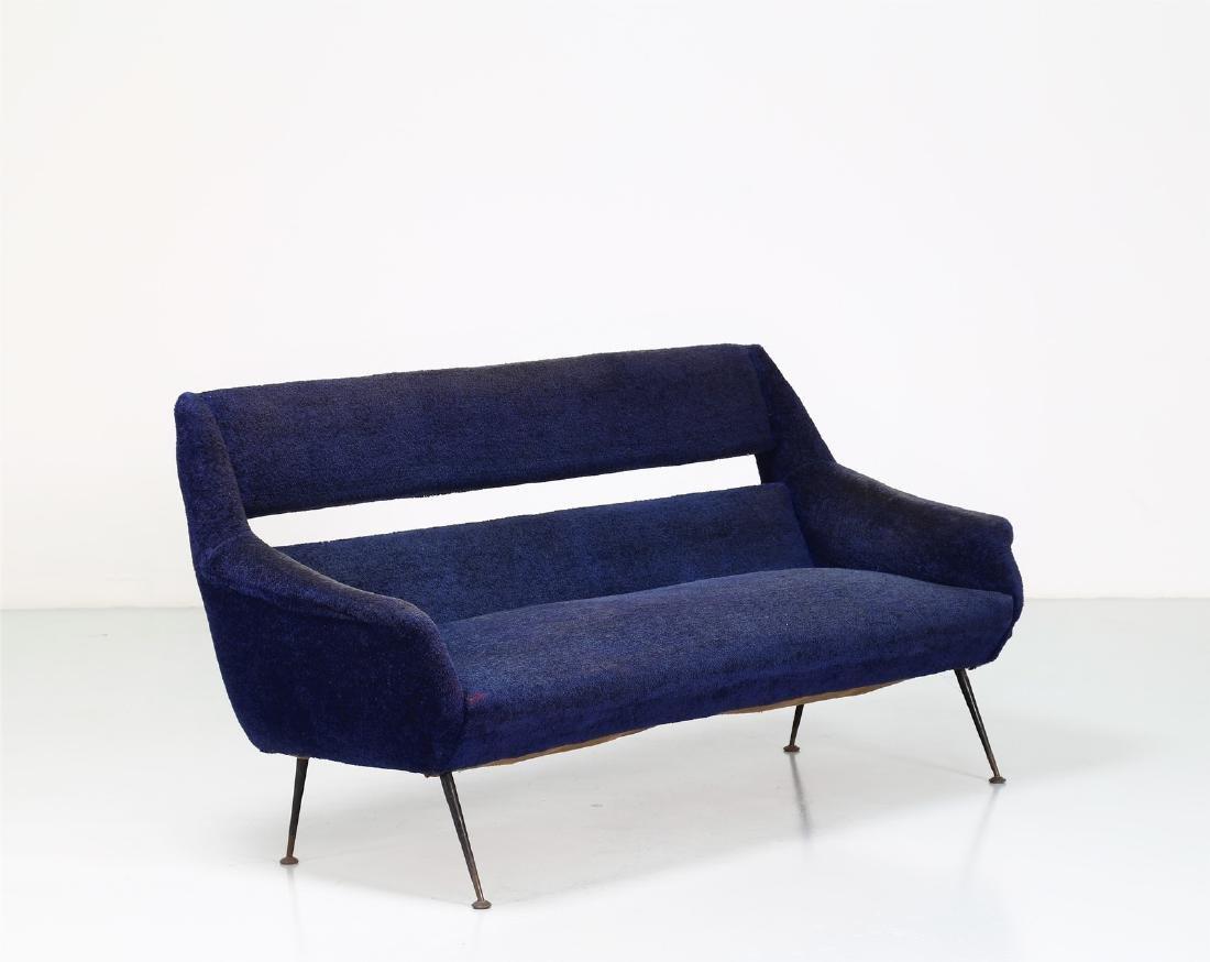 GIGI RADICE Three-seater sofa in metal and fabric,
