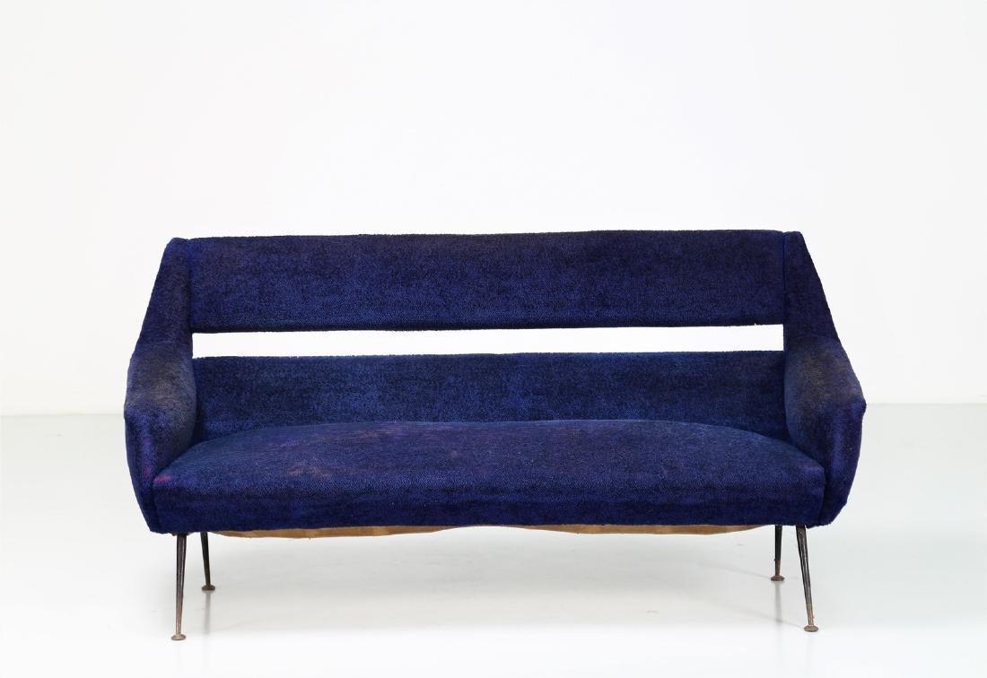 GIGI RADICE Three-seater sofa in metal and fabric, - 5
