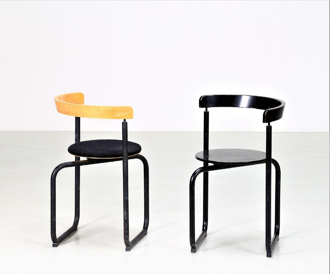 PAUSTIAN Pair of chairs in lacquered metal, bentwood
