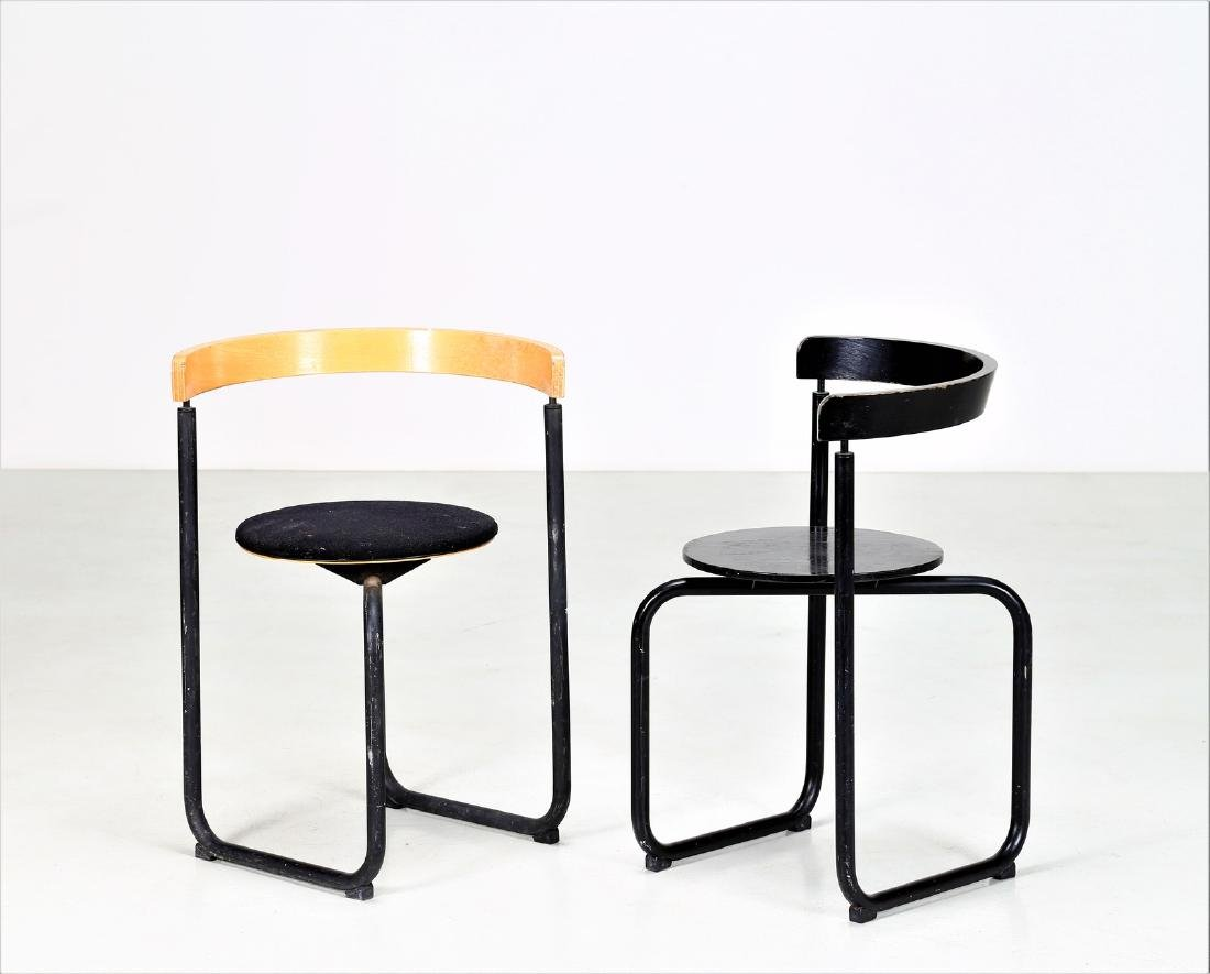 PAUSTIAN Pair of chairs in lacquered metal, bentwood - 2