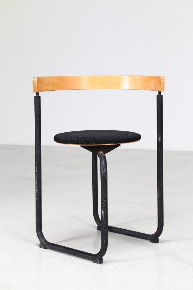 PAUSTIAN Pair of chairs in lacquered metal, bentwood - 4
