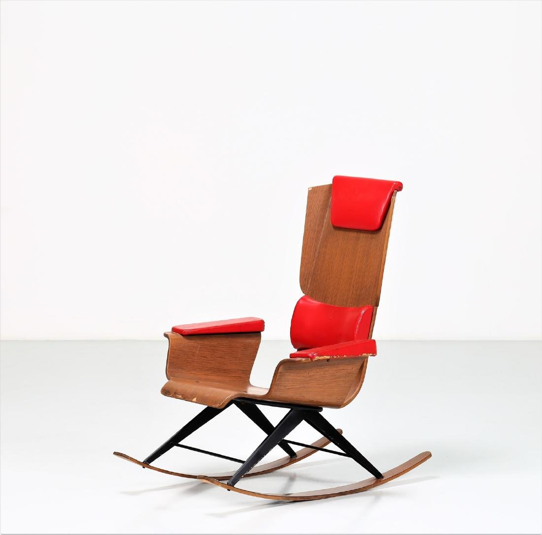 FRATELLI POZZI  Rocking chair in bentwood and leather,