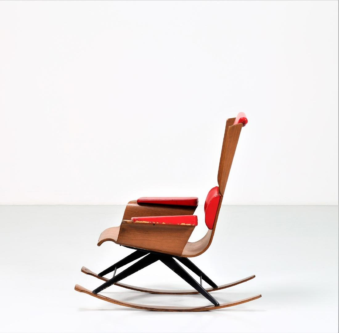 FRATELLI POZZI  Rocking chair in bentwood and leather, - 2