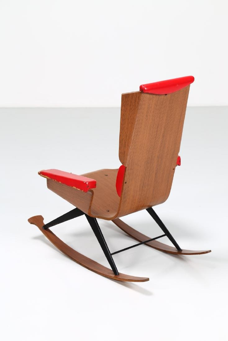 FRATELLI POZZI  Rocking chair in bentwood and leather, - 4