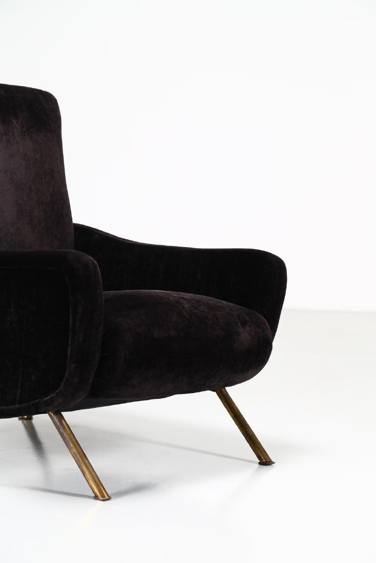 MANIFATTURA ITALIANA  Metal and fabric armchair, 1960s. - 3