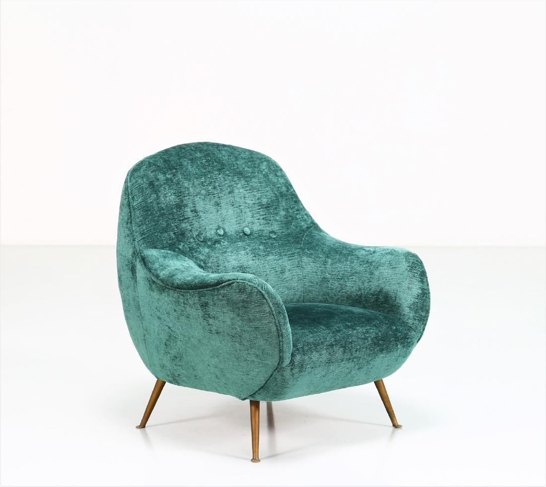 MANIFATTURA ITALIANA  Fabric and brass armchair, 1950s.