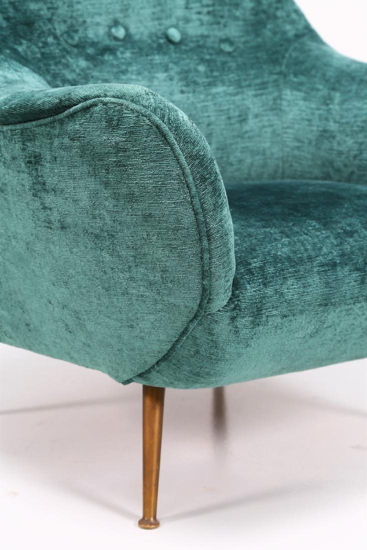 MANIFATTURA ITALIANA  Fabric and brass armchair, 1950s. - 7