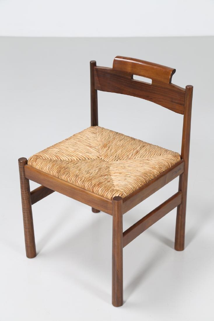 GIOVANNI MICHELUCCI Three walnut and straw chairs, mod. - 2