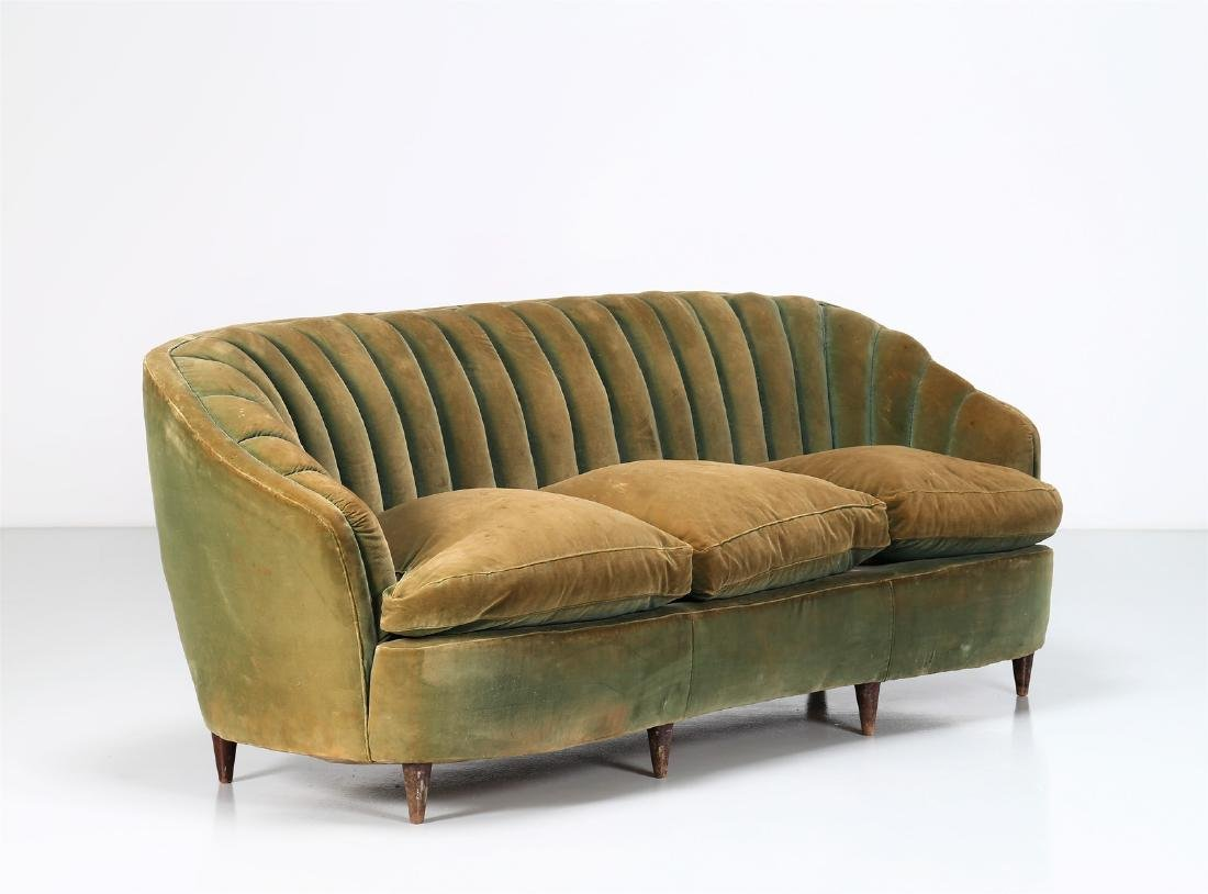 OSVALDO BORSANI Wood and fabric sofa, 1940s.