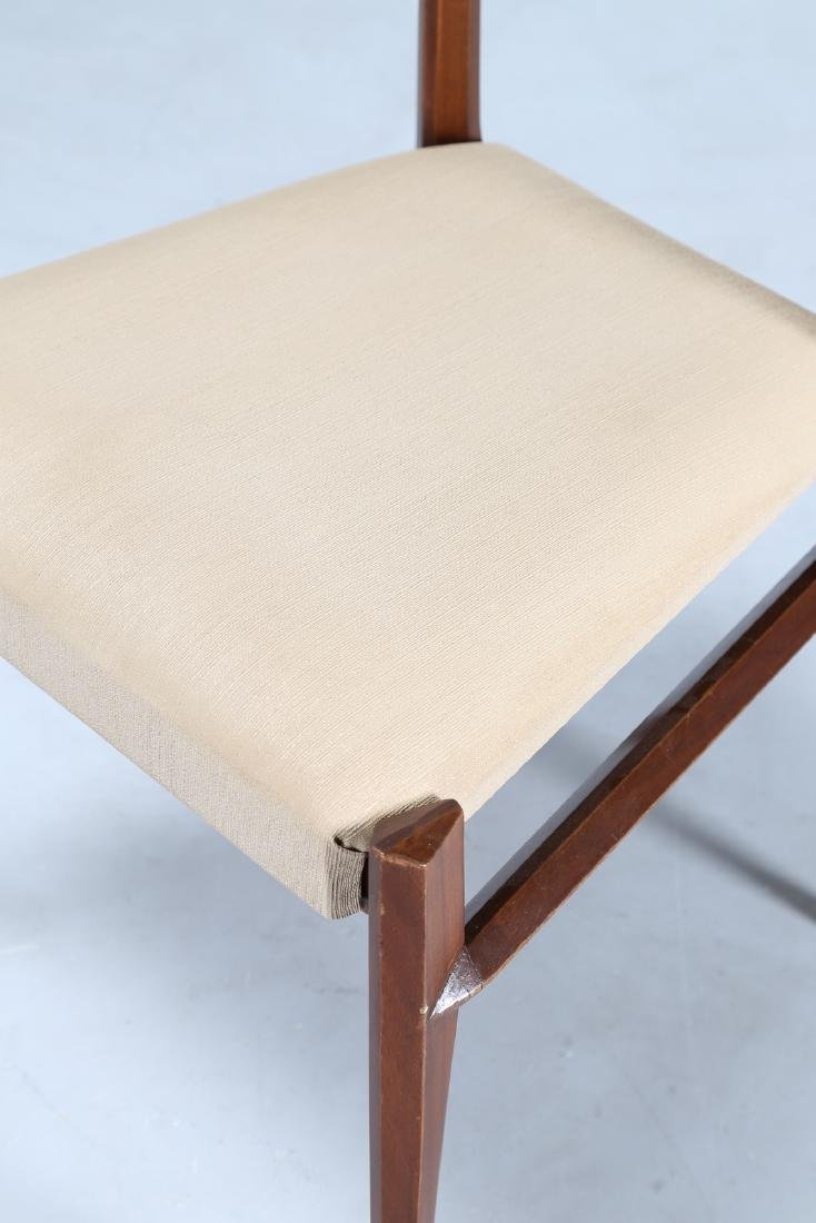 GIULIO MOSCATELLI Six walnut and fabric chairs by - 2