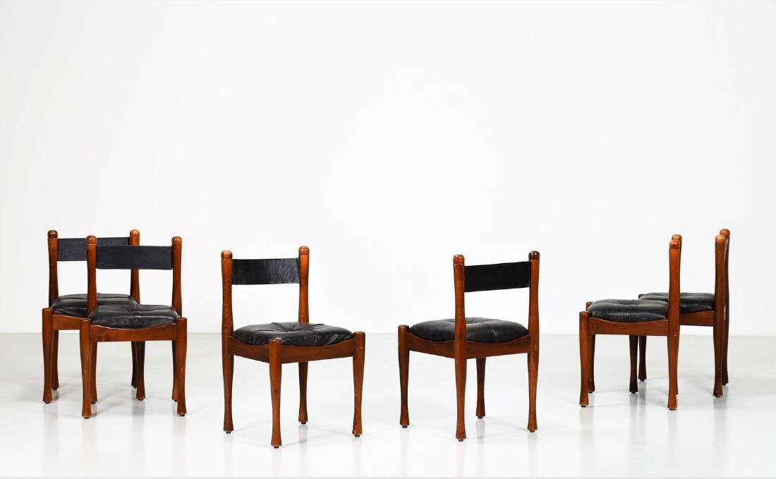 SILVIO COPPOLA Six chairs in walnut and leather by