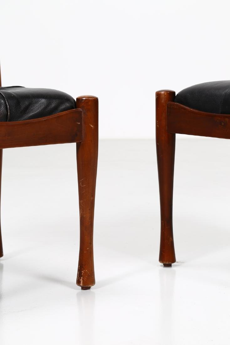 SILVIO COPPOLA Six chairs in walnut and leather by - 2