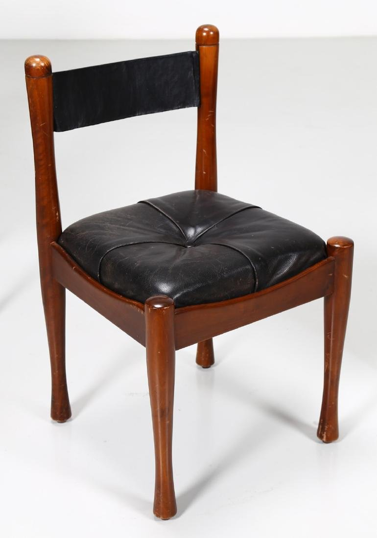 SILVIO COPPOLA Six chairs in walnut and leather by - 4