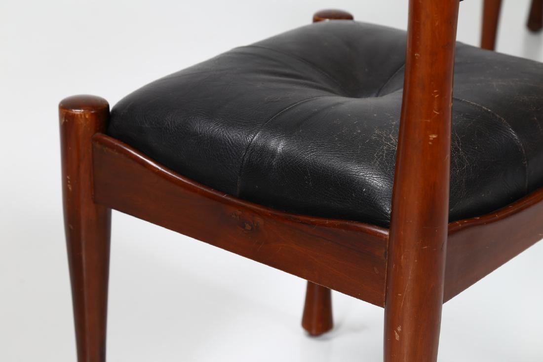 SILVIO COPPOLA Six chairs in walnut and leather by - 5