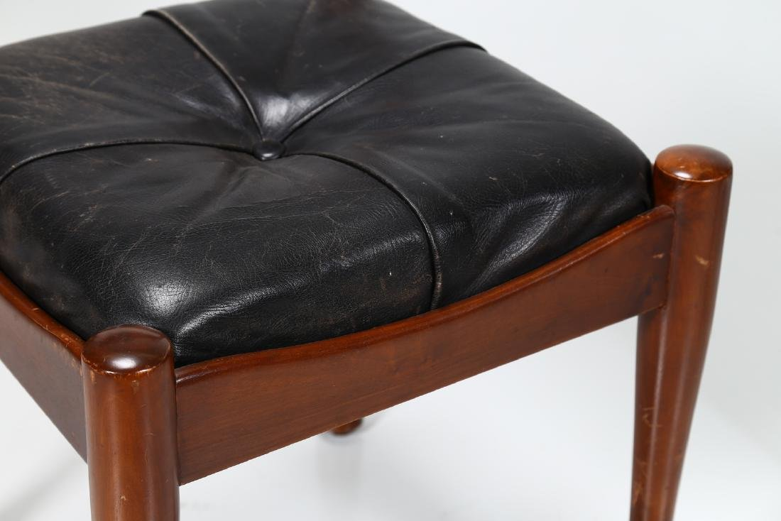 SILVIO COPPOLA Six chairs in walnut and leather by - 6