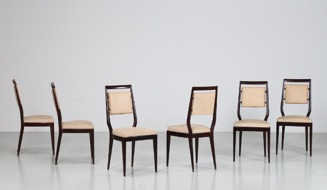 MANIFATTURA ITALIANA  Six mahogany and skai chairs,