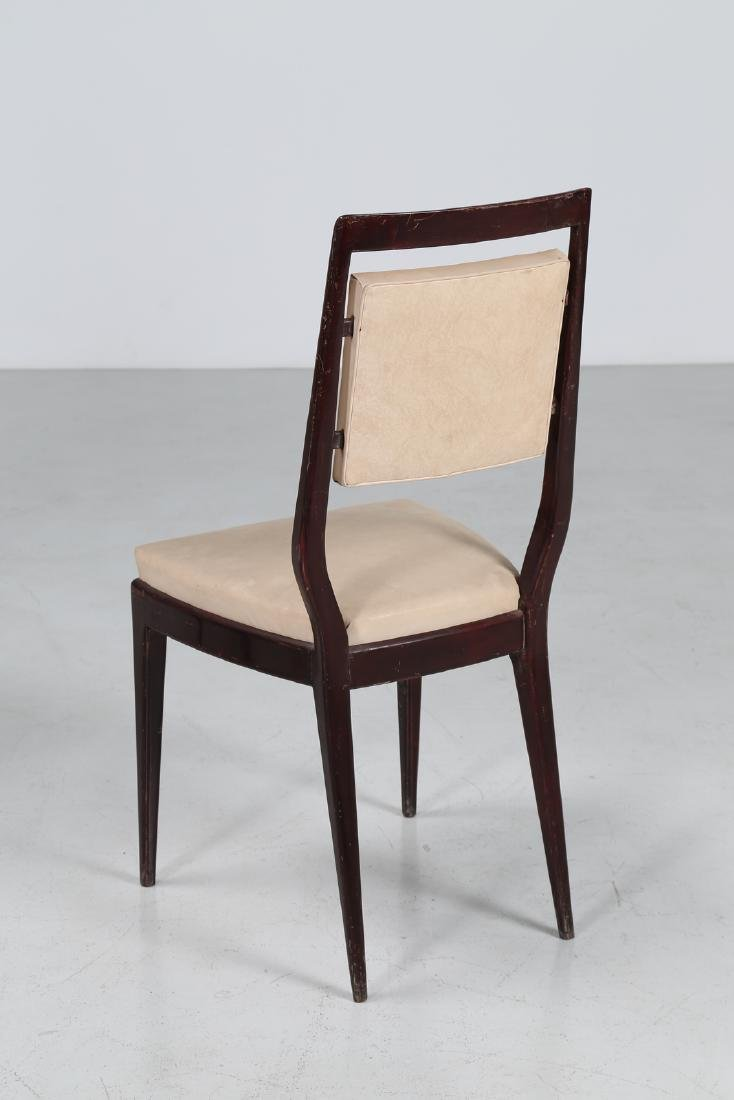 MANIFATTURA ITALIANA  Six mahogany and skai chairs, - 3