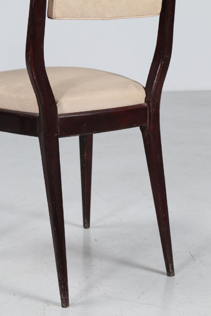 MANIFATTURA ITALIANA  Six mahogany and skai chairs, - 6
