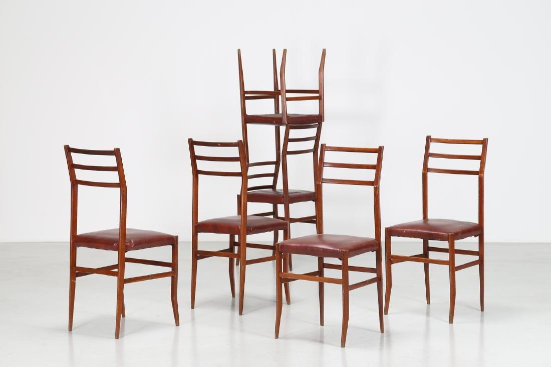 MANIFATTURA ITALIANA  Six beech and skai chairs, 1960s.