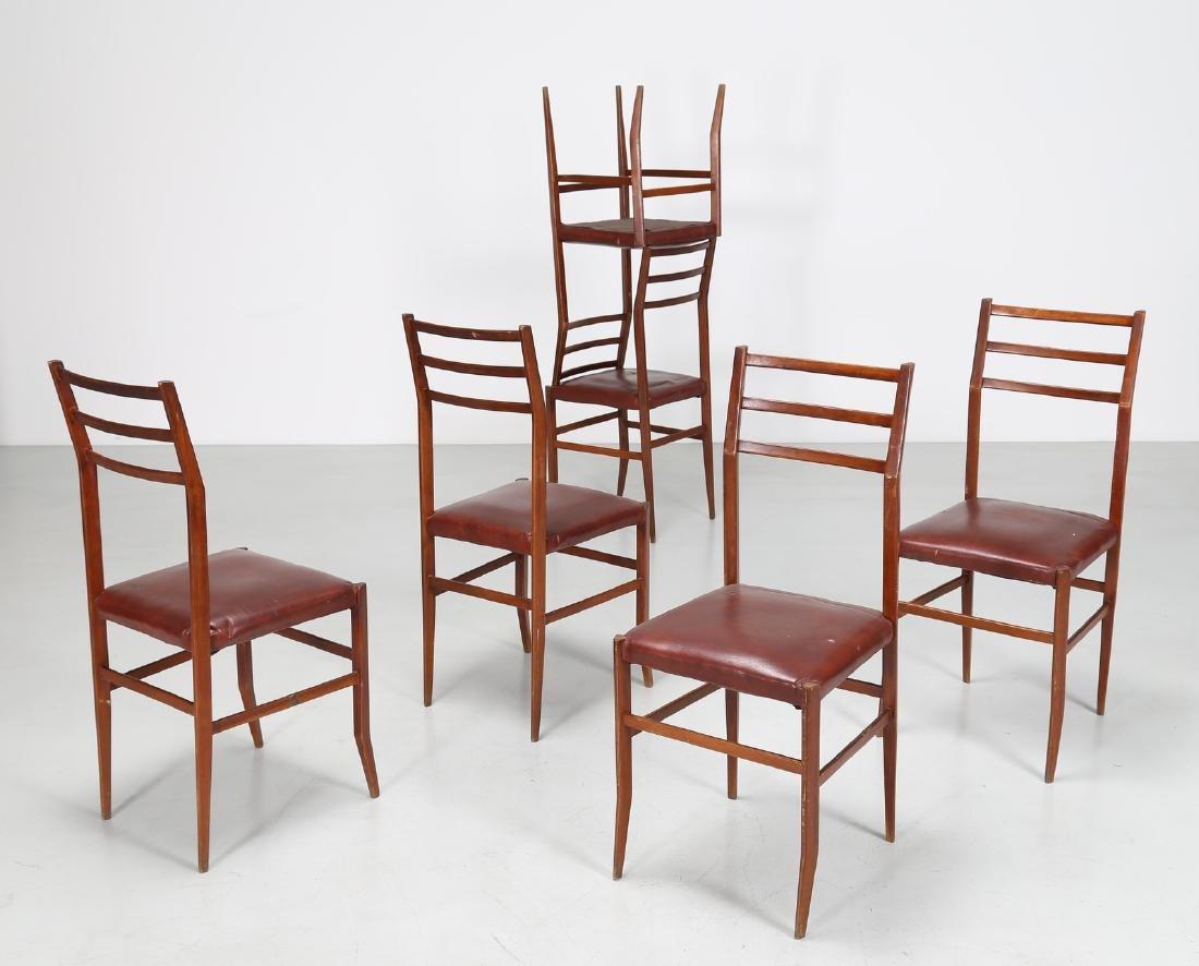 MANIFATTURA ITALIANA  Six beech and skai chairs, 1960s. - 2