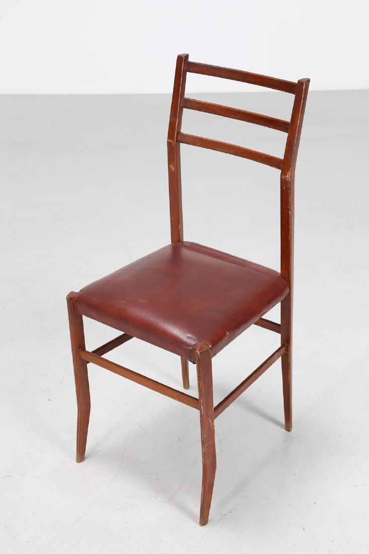 MANIFATTURA ITALIANA  Six beech and skai chairs, 1960s. - 3