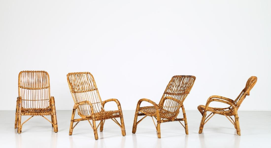 MANIFATTURA ITALIANA  Four wicker armchairs, 1960s.
