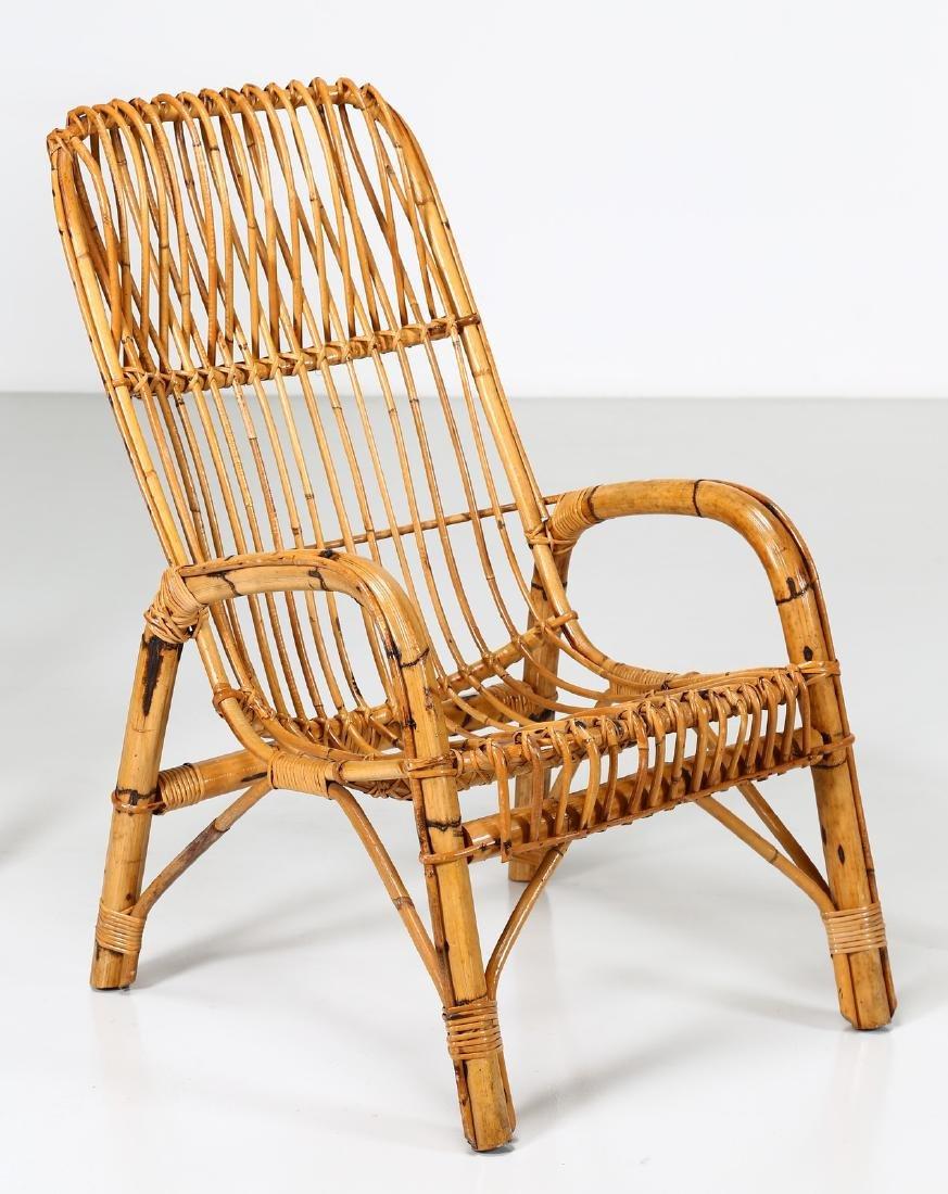 MANIFATTURA ITALIANA  Four wicker armchairs, 1960s. - 2
