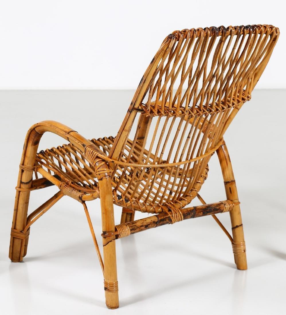 MANIFATTURA ITALIANA  Four wicker armchairs, 1960s. - 3
