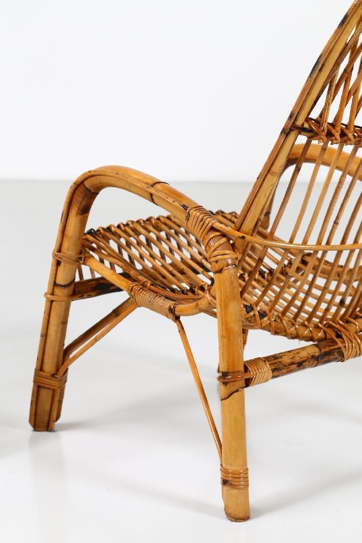 MANIFATTURA ITALIANA  Four wicker armchairs, 1960s. - 5