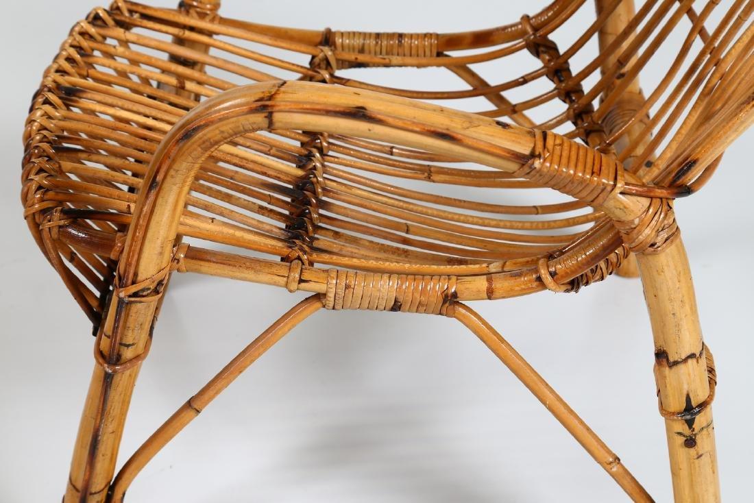 MANIFATTURA ITALIANA  Four wicker armchairs, 1960s. - 6