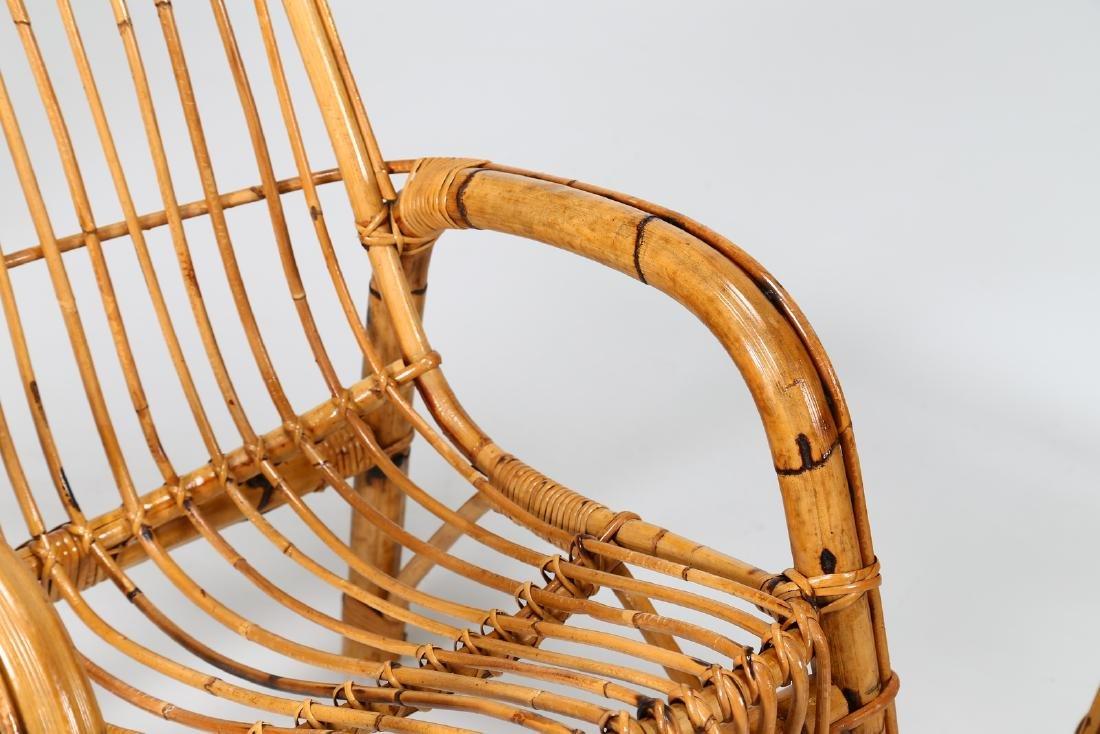 MANIFATTURA ITALIANA  Four wicker armchairs, 1960s. - 7