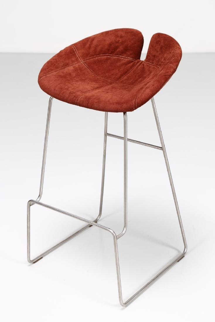 MANIFATTURA ITALIANA  Pair of stools in chromed metal - 6