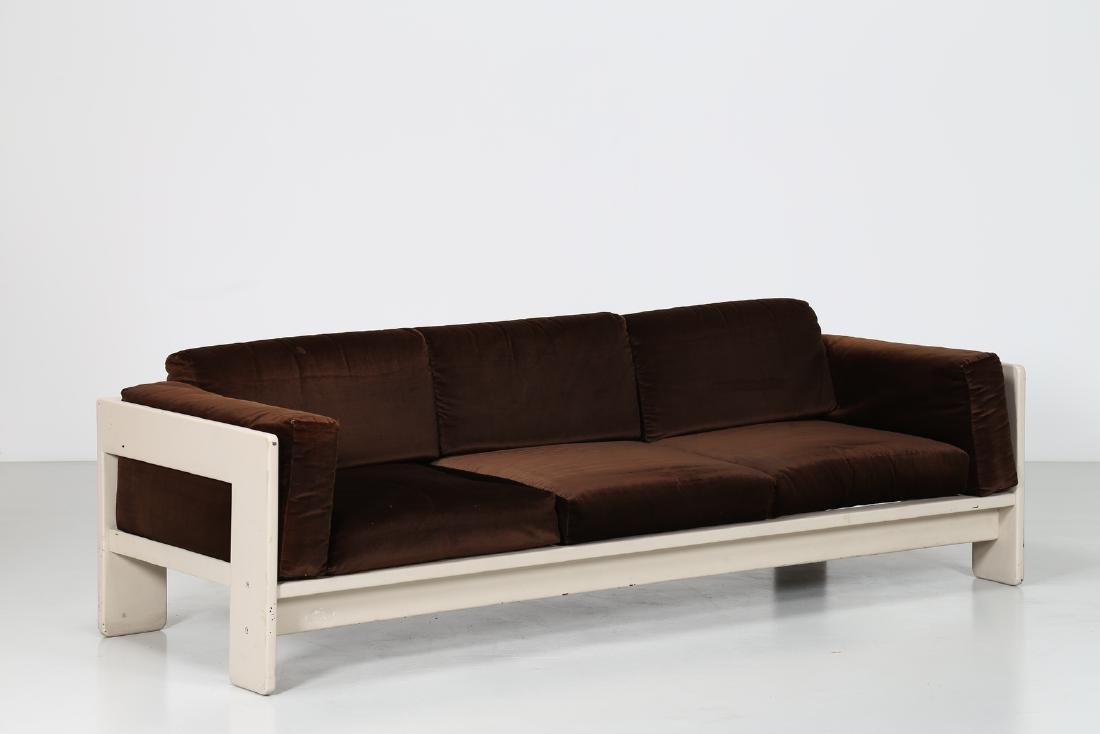 TOBIA SCARPA Sofa in white lacquered wood and velvet,