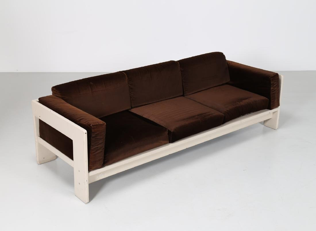 TOBIA SCARPA Sofa in white lacquered wood and velvet, - 2