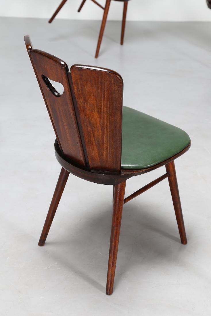 GUGLIELMO PECORINI Six wood and skai chairs, 1950s . - 2
