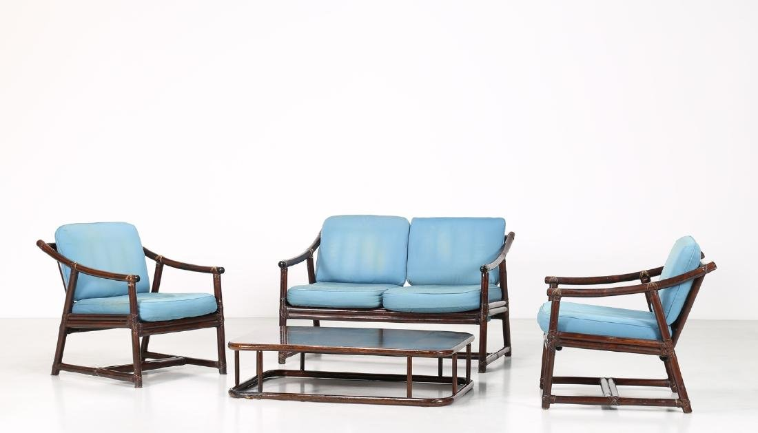 BONACINA 1889 Patio set comprising sofa, two armchairs
