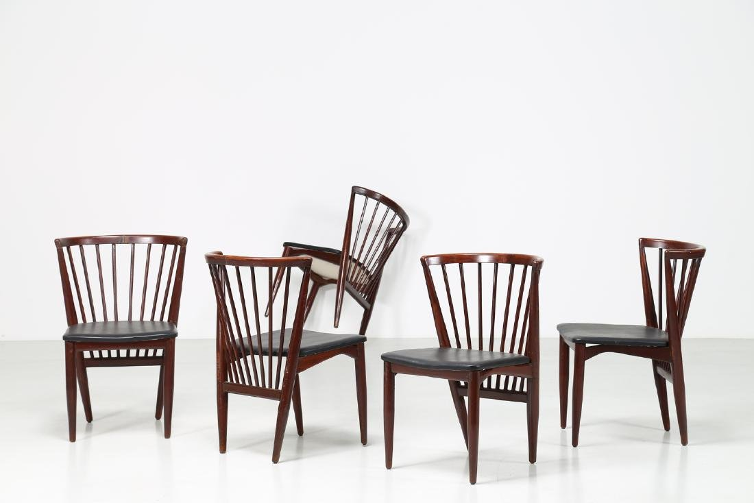 J. VAZQUEZ CARBALLIDO Five wood and skai chairs, 1960s.