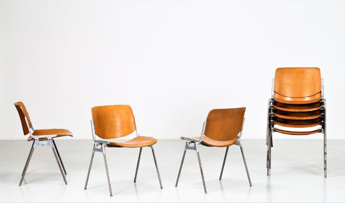 GIANCARLO PIRETTI Eight bentwood and metal chairs,