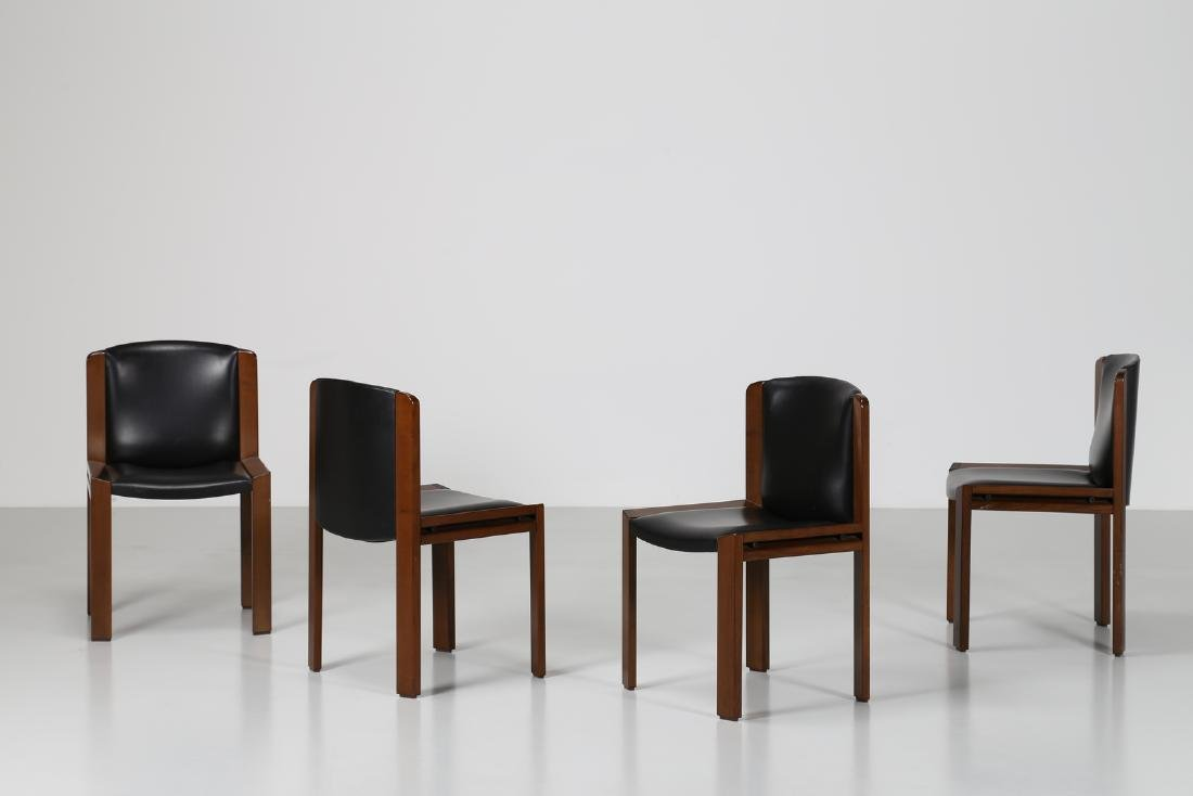 JOE COLOMBO Four walnut and leather chairs, model 300,